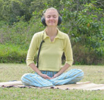Lisa Lemley Meditating with headphones